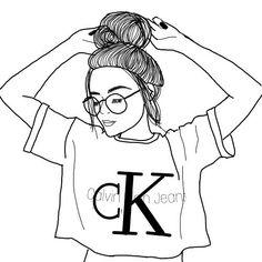 cute girly easy drawings for teens Tumblr Girl Drawing, Tumblr Drawings, Girl Drawing Sketches, Art Drawings Sketches Simple, Girl Sketch, Pencil Art Drawings, Easy Drawings, Manga Drawing, Drawing Tips