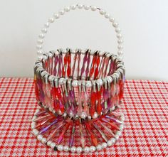 Vintage Safety Pin Beaded Basket - Pinks and Purples