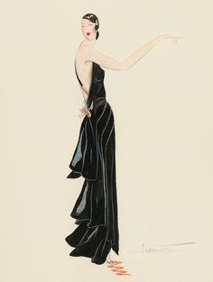 1930s - Jean Patou dress - sketch