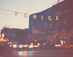 photography, Venice beach sign at night photograph, California travel, beach decor, Los Angeles summer vacation, dreamy bokeh, art print. $32.00, via Etsy.