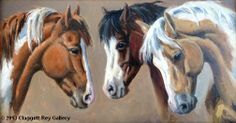 Three Painted ladies - horse painting by Cynthia Rigden
