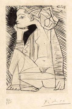 """Pablo Picasso """"Femme assise en tailleur"""" (Geneviève Laporte) 1951."""