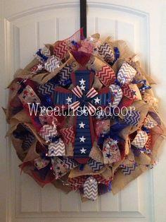 Memorial Day/Fourth of July burlap wreath www.facebook.com/wreathstoadoor