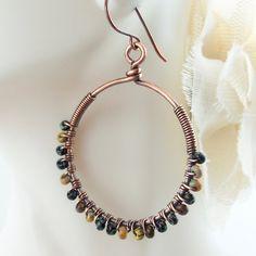 Wire Wrap Handmade Jewelry Earring Hoop Earrings by ArtNSoulJewels