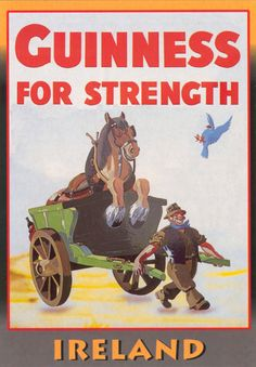 """John Gilroy, an art director at Benson, started working on the Guinness account in 1930 and illustrated  almost all of Guinness' advertisements for the next thirty years.  This """"Girder"""" poster was the most popular in the """"Guinness for Strength"""" campaign that depicted men performing feats of ridiculous strength with the help of Guinness. Vintage Labels, Vintage Ads, Guinness Advert, Guinness Chocolate, Irish Beer, Pin Up, Beer Poster, Advertising Poster, School Advertising"""