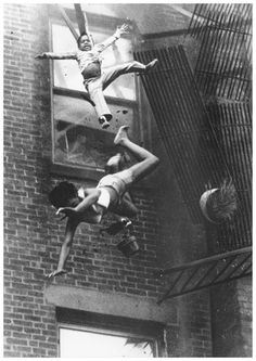 World Press Photo of the Year, 1975 -  19 year old Diana Bryant and her 2 year old goddaughter Tiare Jones fall from the collapsed fire escape of a burning apartment building on Marlborough Street in Boston on July 22, 1975.  Diana sustained multiple head and body injuries and died hours later.  Tiare survived the fall because she landed on Diana's body, softening the impact.