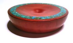 Redgum support bowl with Turquoise stone inlay crafted in May 2015 number 2