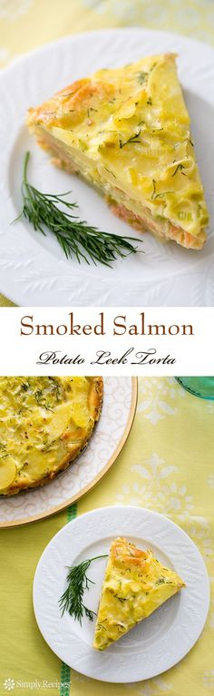 Smoked Salmon Potato Leek Torta Recipe _ Now here's a perfect idea for a special Sunday brunch! This torta is layered with slices of Yukon Gold potatoes, smoked salmon, & sautéed leeks, & bound with a dill seasoned custard of eggs & cream. Salmon Recipes, Fish Recipes, Seafood Recipes, Cooking Recipes, Healthy Recipes, Quiche, Torta Recipe, Salmon Potato, Food Porn