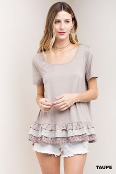 Short Sleeve Top with Contrast Layered Ruffle Bottom in Taupe