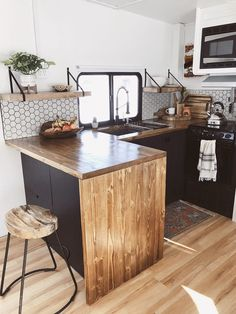 Tour this RV Remodel filled with Scandinavian Coziness! Tiny House Living, Rv Living, Camper Renovation, Camper Makeover, Scandinavian Kitchen, Remodeled Campers, Teardrop Campers, Teardrop Trailer, Rv Campers