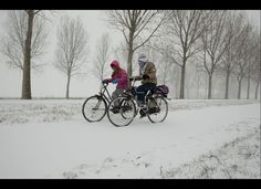 Two teenagers returning from school make their way home on slippery roads near Lisserbroek, western Netherlands on Feb. Winter Snow, Winter White, Big Freeze, Frozen Photos, Winter Cycling, Its Cold Outside, Holland, Winter Wonderland, Dutch