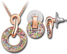 """Design by Ninabox -Weihnachten """"Rainbow"""" Mehrfarbiges Rosegold beschichtetes kreisförmiges Set mit SWAROVSKI ELEMENTS Dazu noch eine Überras..."""