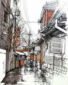 Ink Pen Art, Ink Pen Drawings, Watercolor Sketch, Watercolor Illustration, City Sketch, Water Drawing, Perspective Art, Abstract Line Art, Landscape Drawings