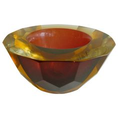 Italian Murano Faceted Geode Sommerso Glass Bowl