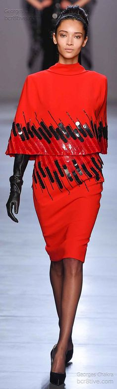 Georges Chakra Fall Winter 2014-15 Couture Dramatic Hot Red Pencil Skirt and Cape Sophisticated evening out guaranteed.