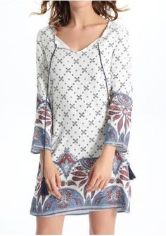Printed Tie Plus Size Shift Dress