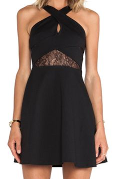 BCBGMAXAZRIA BCBGeneration Fit and Flare Keyhole Dress in Black