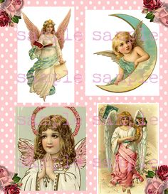 Instant Digital Download, Victorian Christmas Angels Collage Sheet, Victorian Scrap, Vintage Antique Pink Shabby Chic by VelvetRust on Etsy