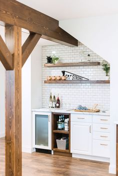 "A Sip, Socialize, and Shiplap Soiree, Inspired by HGTV's ""Fixer Upper"" – Basement İdeas 2020 Wet Bar Basement, Basement Kitchen, Basement Ideas, Basement Finishing, Basement Decorating, Basement Plans, Basement Subfloor, Basement Ceilings, Basement Designs"