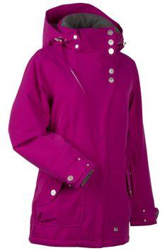 NILS Kim ski/snow jacket in Marathon Magenta. Longer length-super flattering!