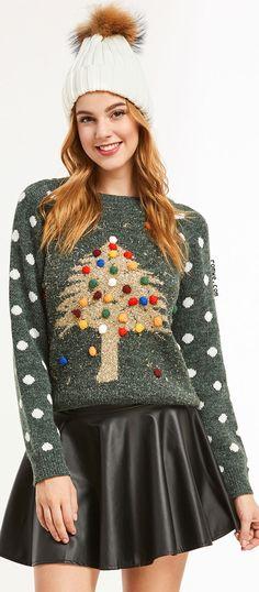 Merry Christmas - Green Polka Dot Pom Pom Christmas Tree Sweater