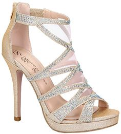 e4a3756694452 De Blossom Collection Open Toe Sexy High Heel Stiletto Rhinestones Glitter  Sandals Wedding Pumps Bridal Party Prom Dress Sandals Nude 9 ** You can  find more ...