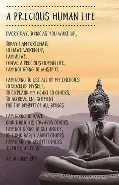 """A Precious Human Life - Dalai Lama: """"Everyday, think as you wake up: Today I am fortunate to have woken up, I am alive, I have a precious human life, I am not going to waste it. Buddhist Wisdom, Buddhist Quotes, Spiritual Quotes, Buddhist Teachings, Spiritual Images, Spiritual Growth, Dalai Lama, Dhali Lama Quotes, Wisdom Quotes"""