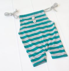 It's All About the Stripes - newborn romper in teal and grey stripes with buttons (RTS) by SoTweetDesigns on Etsy
