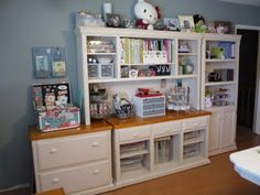 scrapbook room - storage using thrift store treasures.