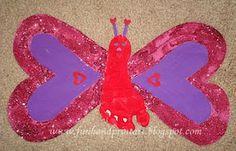 Handprint and Footprint Arts & Crafts: Heart-Shaped Footprint Butterfly