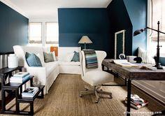 teal blue + classic white + rustic wood desk via Atlanta Homes Magazine