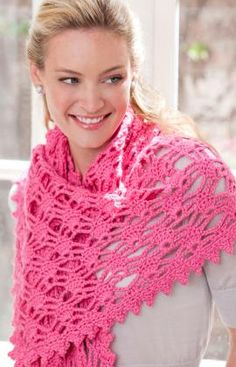 Simply Irresistible Shawl Crochet Pattern: Check Red Heart site for correction that goes along with this pattern