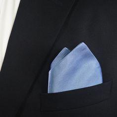 Solid Color Pocket Square - Light Blue, Woven Silk #ties #mensties #men'sneckties #mensfashion #mensstyle #mensoutfits #mensootd #bowtie #pocketsquare #socks #menssocks