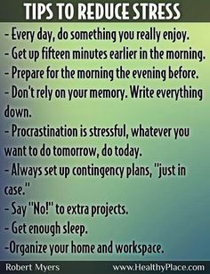 Ways to decrease stress.