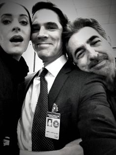 "Paget Brewster, Thomas Gibson & Joe Mantegna on the set of ""Criminal Minds"""