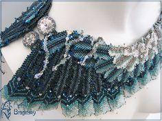 Купить Буревестник (2-е место BeadDreams2012) - колье, птица, крыло, синий, белый, серый