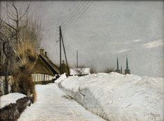 Laurits Andersen Ring - Winter Day in Roskilde oil on canvas, 36 × cm × in) Randers Art Museum, Denmark Laurits Andersen Ring was one of the foremost Danish painters. Danish Culture, Painting Snow, Snow Art, Digital Museum, Classic Paintings, Scandinavian Art, The Masterpiece, Winter Art, French Artists