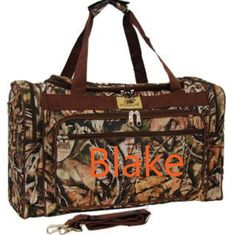 A personal favorite from my Etsy shop https://www.etsy.com/listing/254696252/personalized-camo-duffle-bag