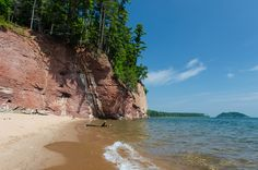 A beautiful summer day along the Lake Superior coast with sandstone cliffs and a secluded beach. Secluded Beach, Lake Superior, Nature Photos, Summer Days, Michigan, Coast, Water, Outdoor, Image