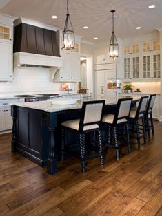 709ac59b85e Another gorgeous kitchen with stained Hickory wood flooring! Kitchen  Cabinets