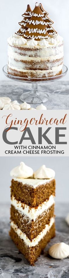 Gingerbread layer cake with cinnamon cream cheese frosting and gingerbread cookie decoration   Supergolden Bakes