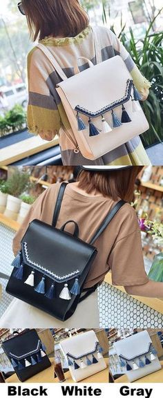Unique Square PU Embroidery Tassels Flap Folk School Lady Backpack for big sale! #square #PU #tassel #backpack #Bag #cute