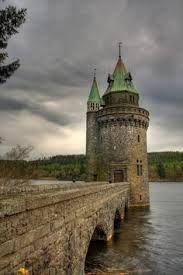 'The Straining Tower' on Lake Llanwddyn, Wales