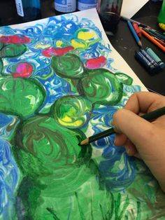 My fifth graders are having SO much fun making these!!! For this project you will need: watercolor paper shaving cream liquid...