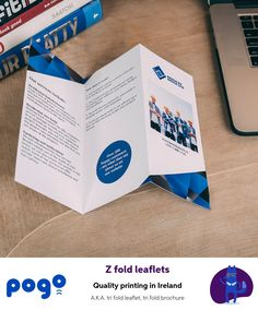 This Z folded leaflet has two folds, creating six panels and giving you the chance to promote your products and services in an effectively organised way. Leaflet Template, Leaflet Design, Templates, Leaflet Printing, Best Bobs, Printing Services, Ireland, Organization, Sayings