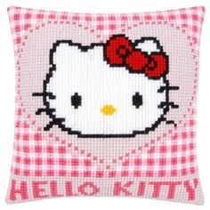 Hello Kitty in a Heart Pillow Cover Needlepoint Kit - Herrschners