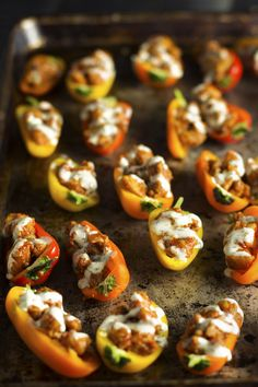 Smoky Ranch Chicken Bites recipe -Crisp sweet peppers are filled with smoky chicken and topped with homemade ranch. (DF, EF, NF, Whole30, Paleo)