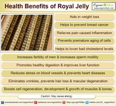 Some of the health benefits of royal jelly include its ability to prevent certain types of cancer, lower blood pressure, relieve sexual infertility, lower cholesterol levels, protects the liver, reduces inflammation, heals digestive disorders, prevents premature aging, help in weight loss efforts, and increase circulation.