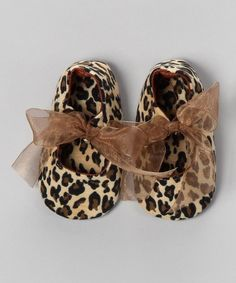 Take a look at this Tan & Brown Leopard Bow Flat by Truffles Ruffles on #zulily today!