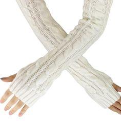 Armstulpen Bekleidung Zubehör Mädchen Arm Winter Handschuhe Lange Geschenk Warme Fingerless Für Frauen Schnee Muster Stricken